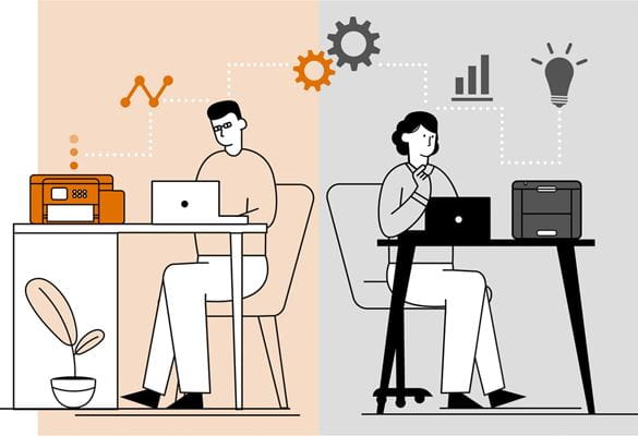 illustration depicting the similarities between a man working in an office environment next to a woman working in a home office environment