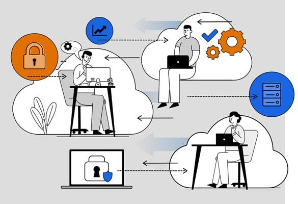 Illustration of three people exchanging information and data while working independently in cloud first environments