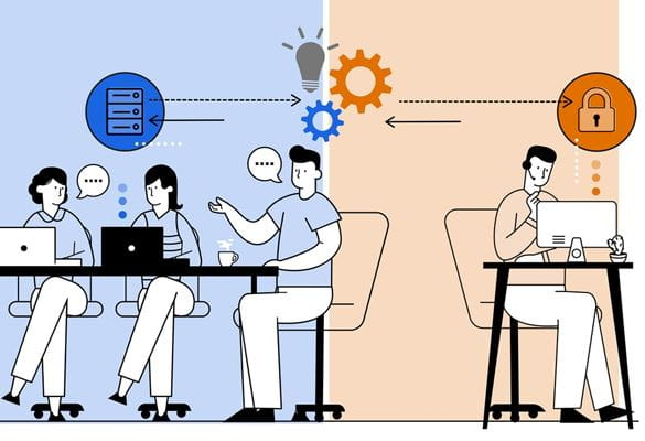 Illustration of three work colleagues having a meeting around a table, exchanging information with a hybrid working expert in an office environment