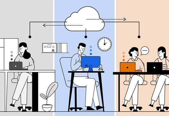 Illustration of a lady in a home office, a man working on a desktop computer and two work colleagues sat together at an office desk exchanging information through the cloud