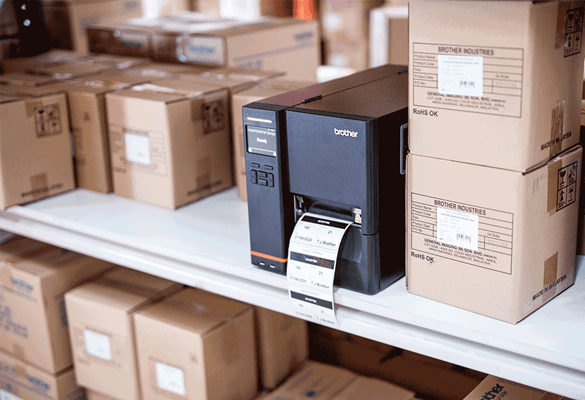 a brother TJ industrial label printer printing a label in a warehouse