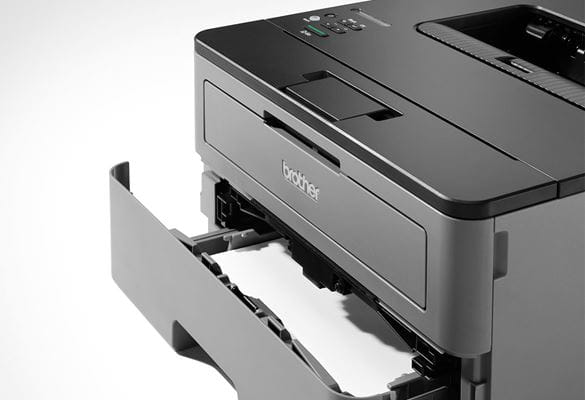 Close up of HL-L2350DW mono laser printer with paper tray open