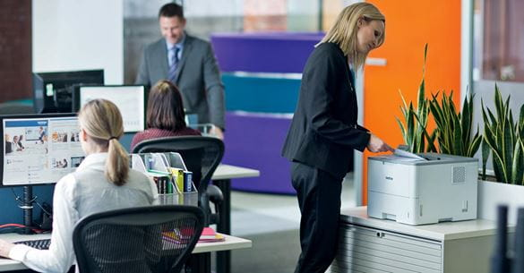 Brother business solutions being used in a busy office