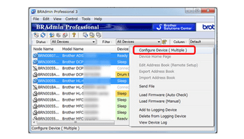 Screen shot of BRAdmin Professional software