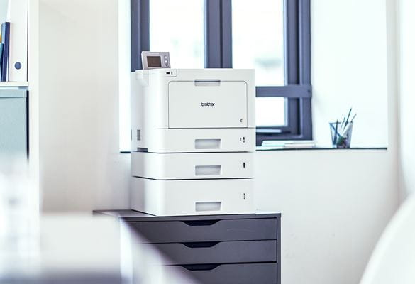 Brother printer on a desk as part of an organisation's managed print service