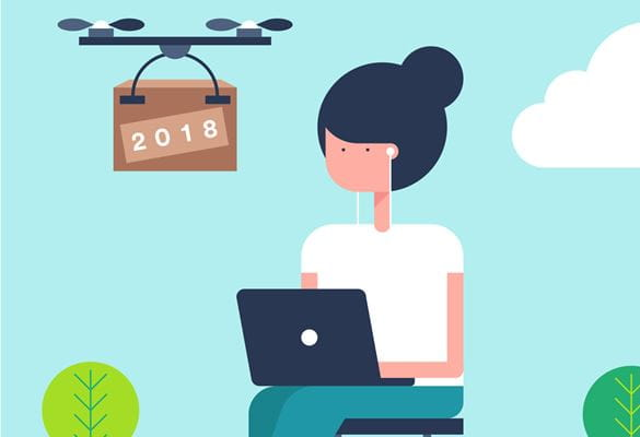 Animated image of a lady working remotely