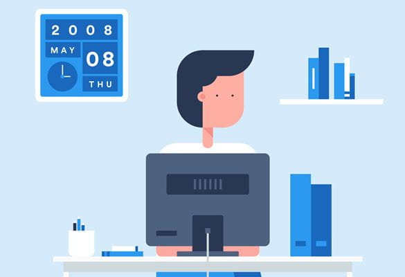 Animated image of a person sat at a desk