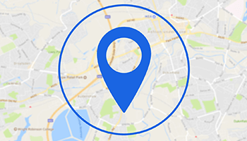 Local store location icon on map background