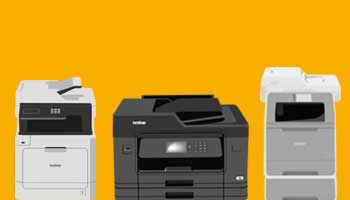 Three illustrated printers on an amber background