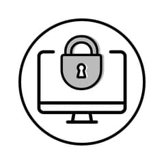 Circular icon with illustration of a padlocked desktop computer to represent device security