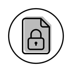 Circular icon with illustration of a padlocked document to represent document security