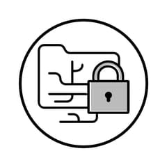 Circular icon with illustration of a padlocked folder tree to represent network security
