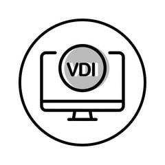 Circular icon with illustration of a VDI desktop computer to represent virtual desktop