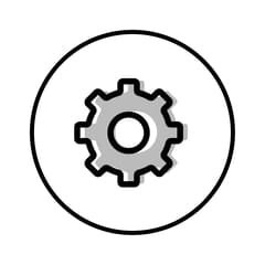 Circular icon with illustration of a cog to represent workflow automation