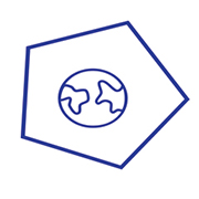 Line drawing of a globe within a pentagon