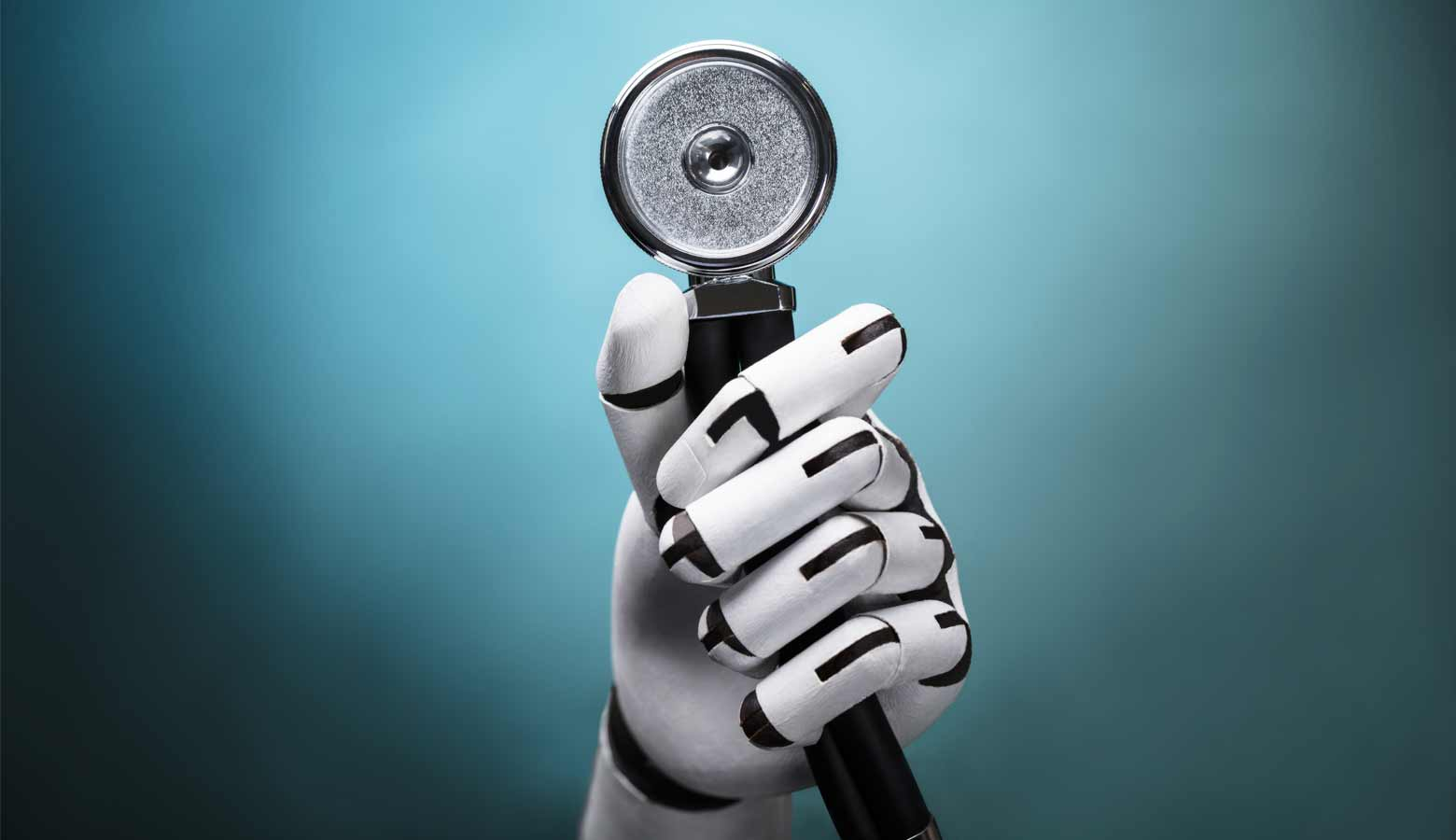 Robot's hand with a stethoscope