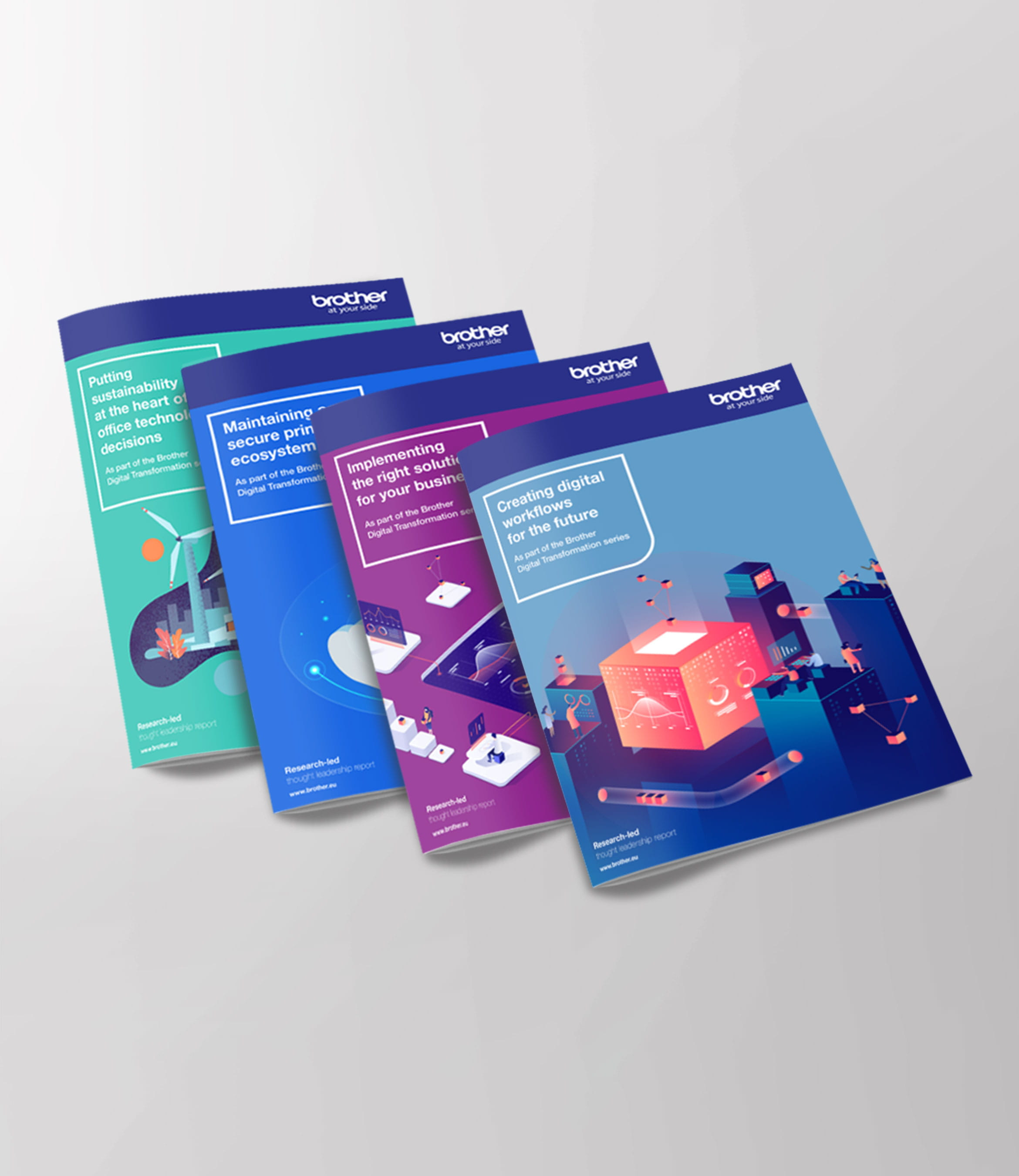 Four digital transformation whitepaper insight reports from Brother on display overlapping each other
