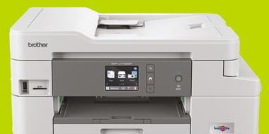 Brother DCP Inkjet printer on spring green background