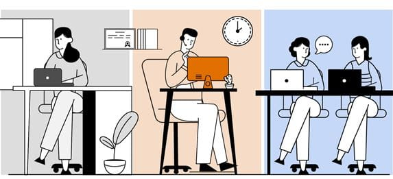 Illustration of a lady in a home office, a man working on a desktop computer and two work colleagues sat together at an office desk to represent hybrid working
