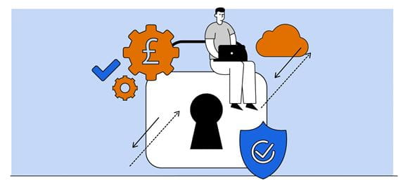 Illustration of a man using a notebook computer while perched on a giant padlock, surrounded by symbols that represent technology solutions
