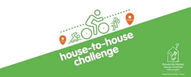 Illustration of a swimmer, cyclist and runner travelling uphill on a green and white background while taking part in the Ronald McDonald House to House challenge
