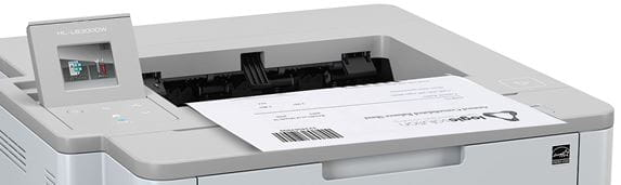 Close-up of Brother Hl-L6300DW mono laser workgroup printer with document output