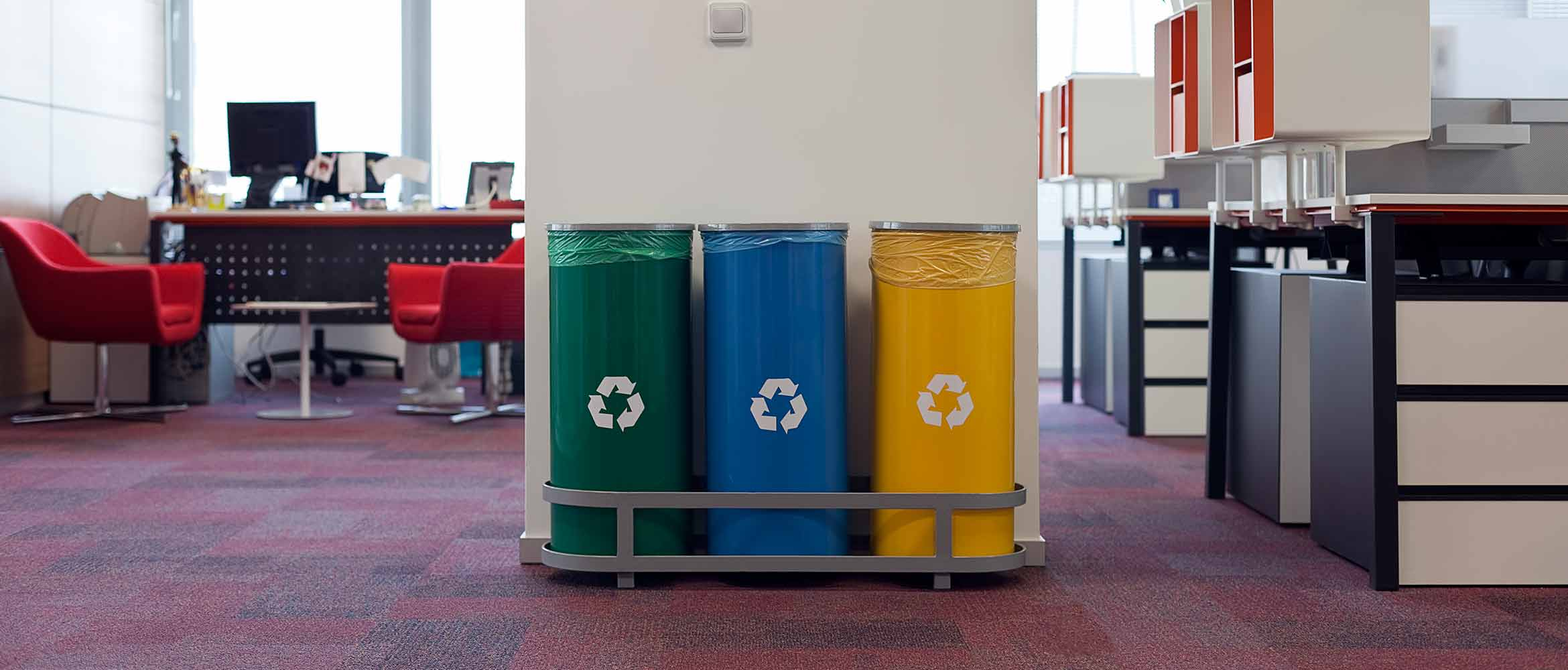 Recycling bins in an office setting