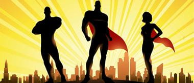 Super hero silhouettes to convey IT super users
