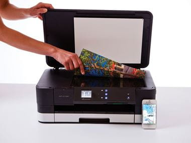 Person scanning a document