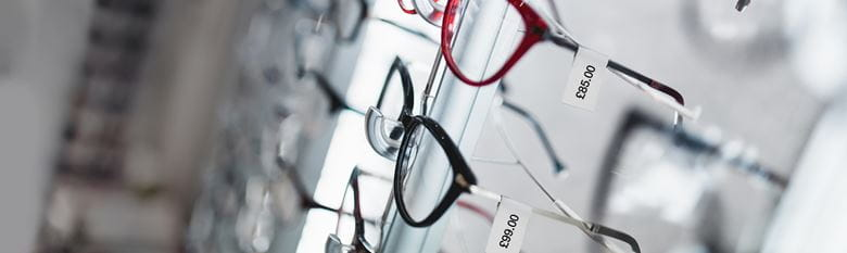 Brother labels on a glasses display