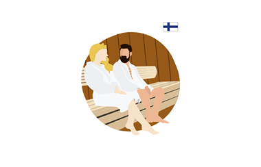 illustration of two people in a sauna