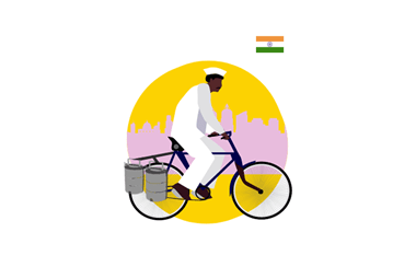 illustration of food delivery via bicycle
