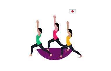 illustration of three women stretching