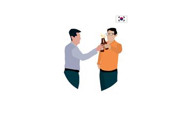illustration of two men having a drink