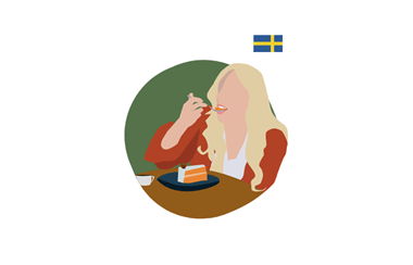 illustration of a woman eating a slice of cake