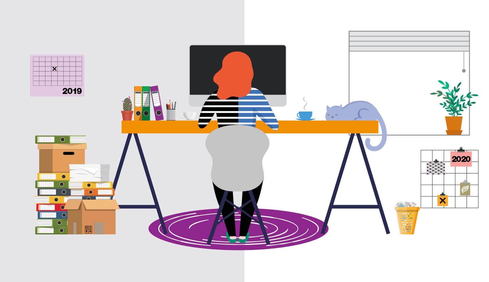 Illustration of a woman working at a trestle desk in a home office environment
