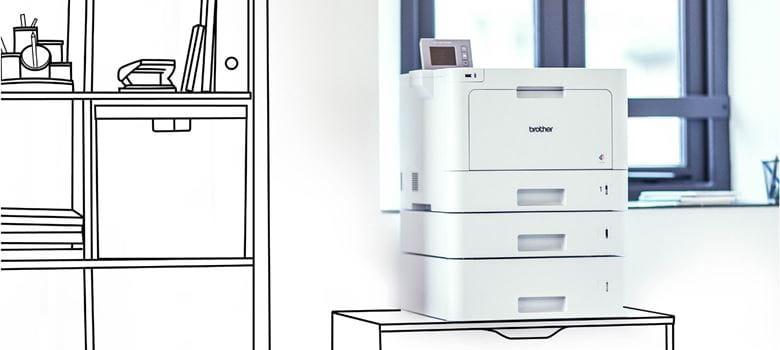 Illustration of shelving and drawer units blended with a photo of a Brother laser printer in front of a window