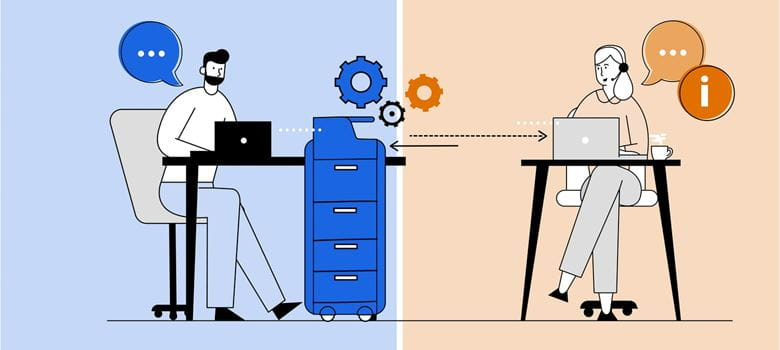 Illustration depicting a man working from home receiving real-time, remote device management from a female technical expert