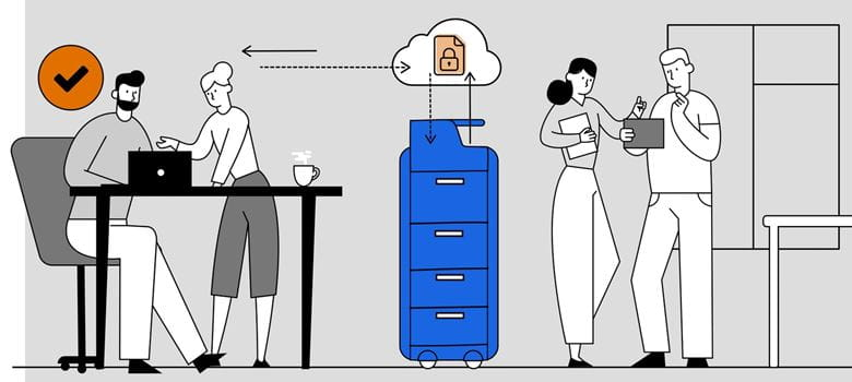 Illustration of male and female colleagues securely printing a document through the cloud with two other colleagues having a discussion in front of a window