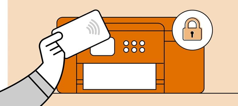 Illustration of a person authenticating a print job through the integrated NFC card reader of a desktop printer