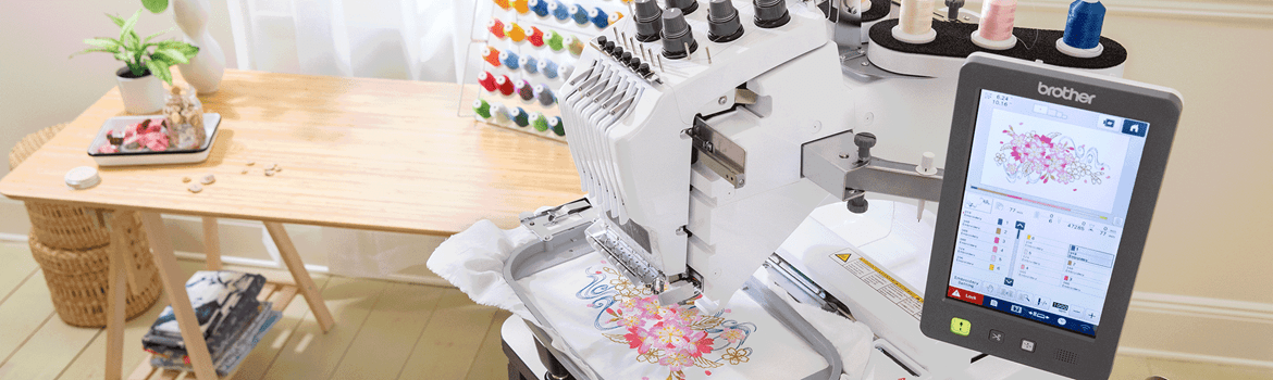 Home office with PR680W embroidery machine