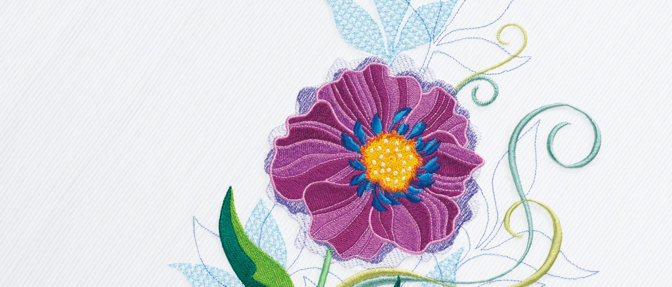 Floral embroidery on grey background