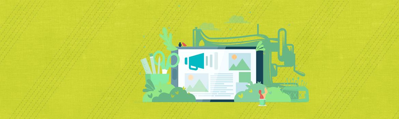 Groene achtergrond met naaimachine en tablet silhouet