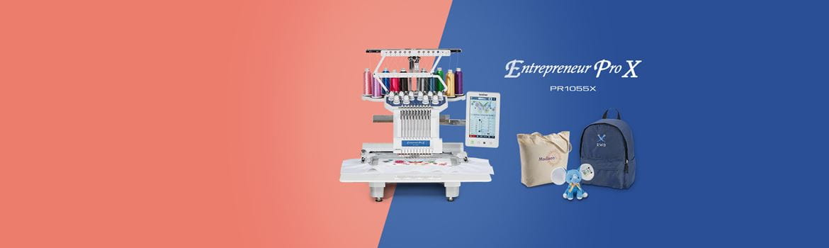 Brother PR1055X embroidery machine on salmon and blue backgraound