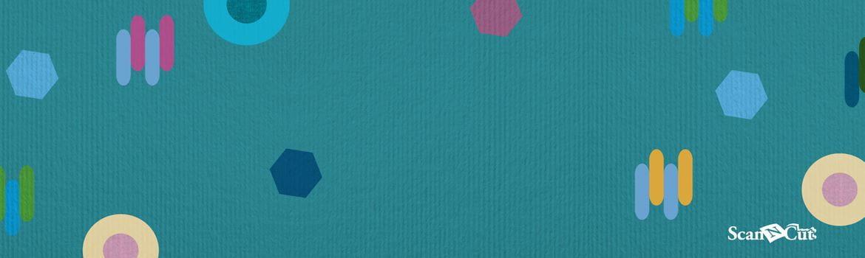 Blauwgroen papier achtergrond met kleurrijke vormen