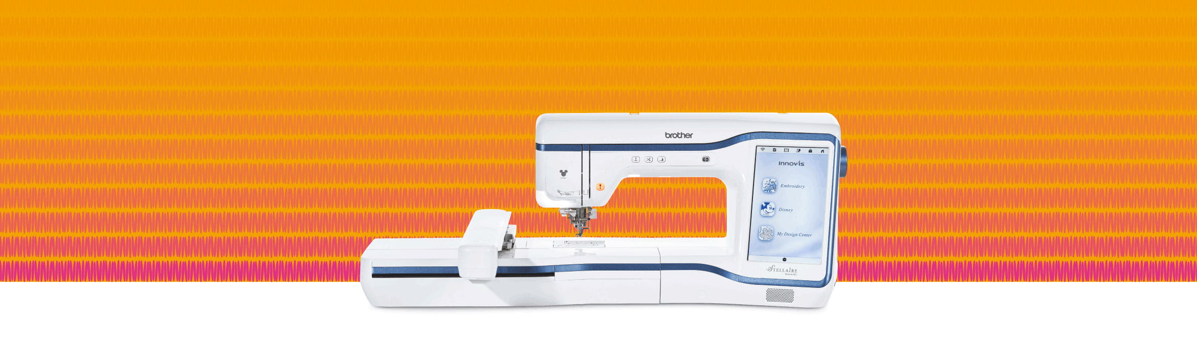 Stellaire XE1 embroidery machine on orange and pink background
