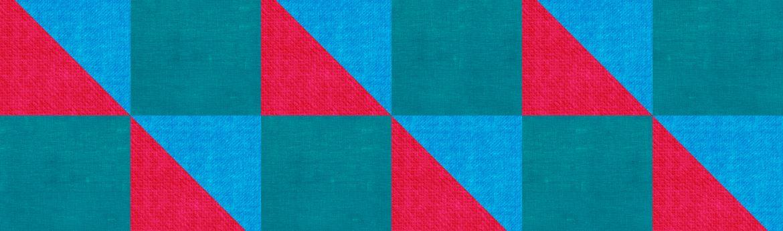 Узор с синим, красным и зеленовато-голубым цветами