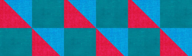 Blauw, rood en blauwgroen patroon