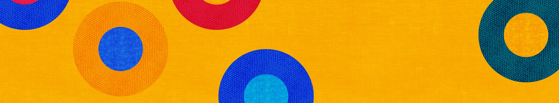 fond jaune avec cercles multicolores