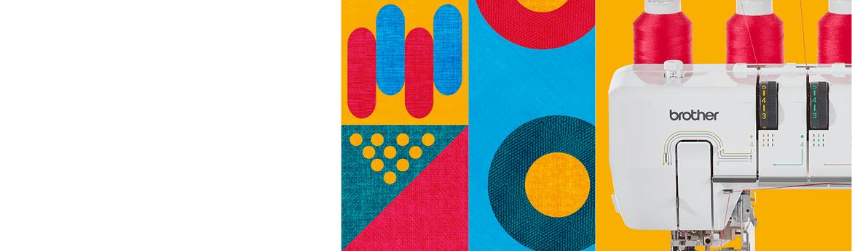 Nahaufnahme einer Nähmaschine auf mehrfarbig gemustertem Hintergrund